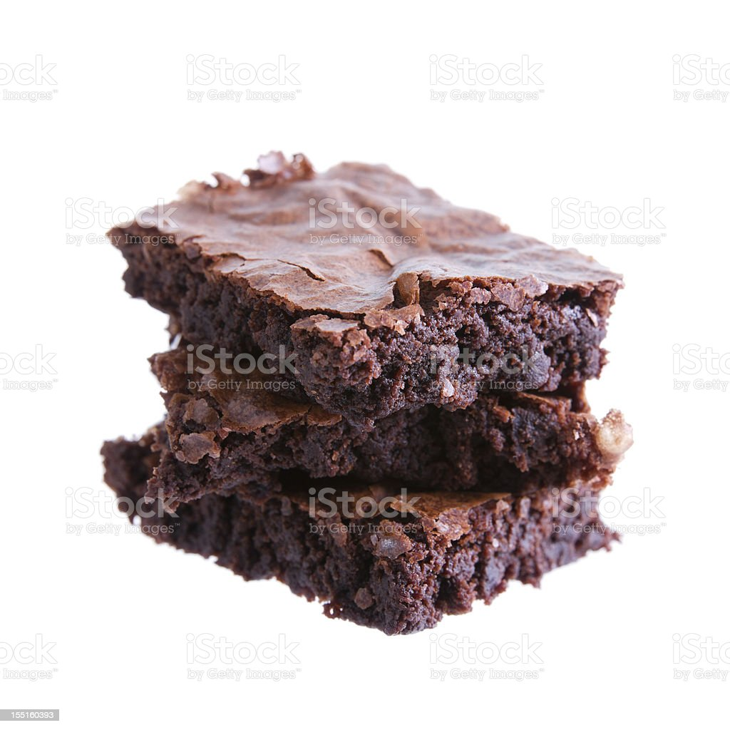 Three brownies on top of each other isolated in white stock photo