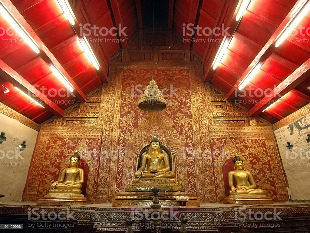 Three Buddha Statues royalty-free stock photo