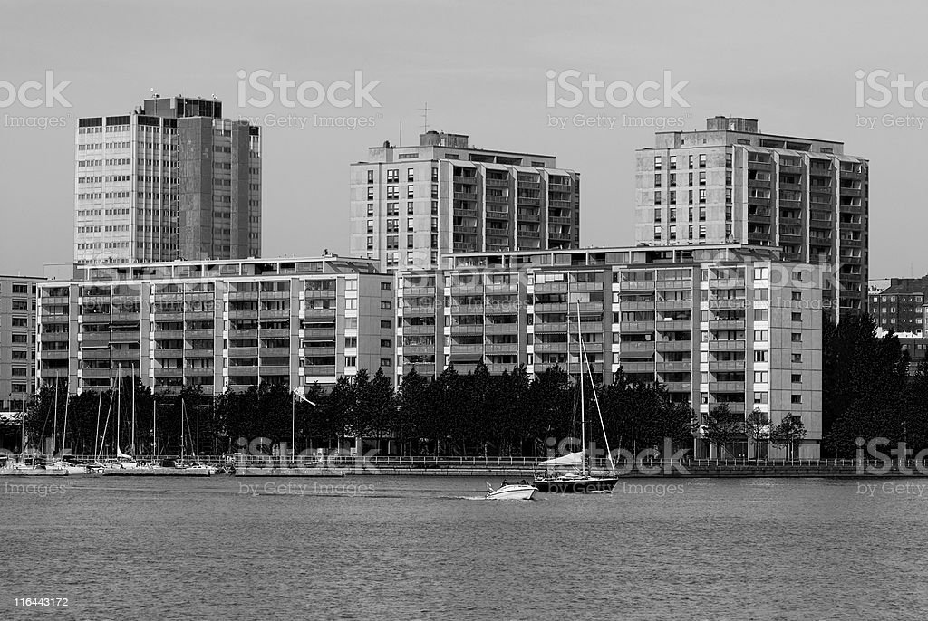 Three buildings by the sea royalty-free stock photo