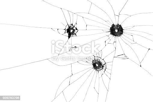 istock Three bullet holes on window isolated on white background. Cut out. 939260298