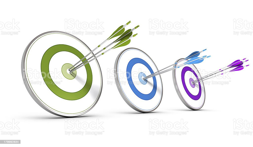 Three bulleye targets for business concept stock photo