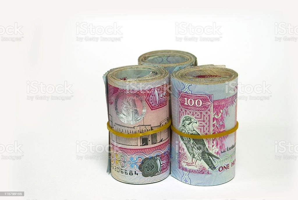 Three bundles of United Arab Emirates 100 Dirham notes royalty-free stock photo