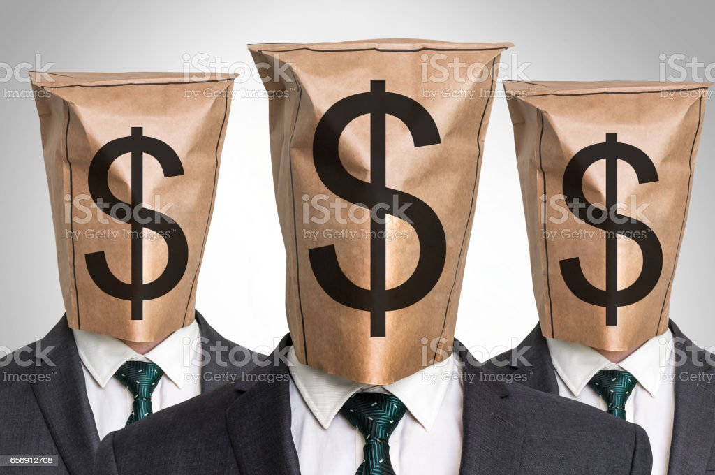 Three business mans with a paper bag on the head stock photo
