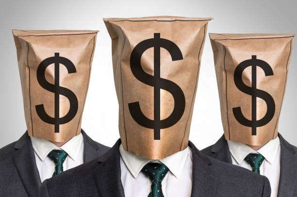 three business mans with a paper bag on the head - hoarding stock photos and pictures