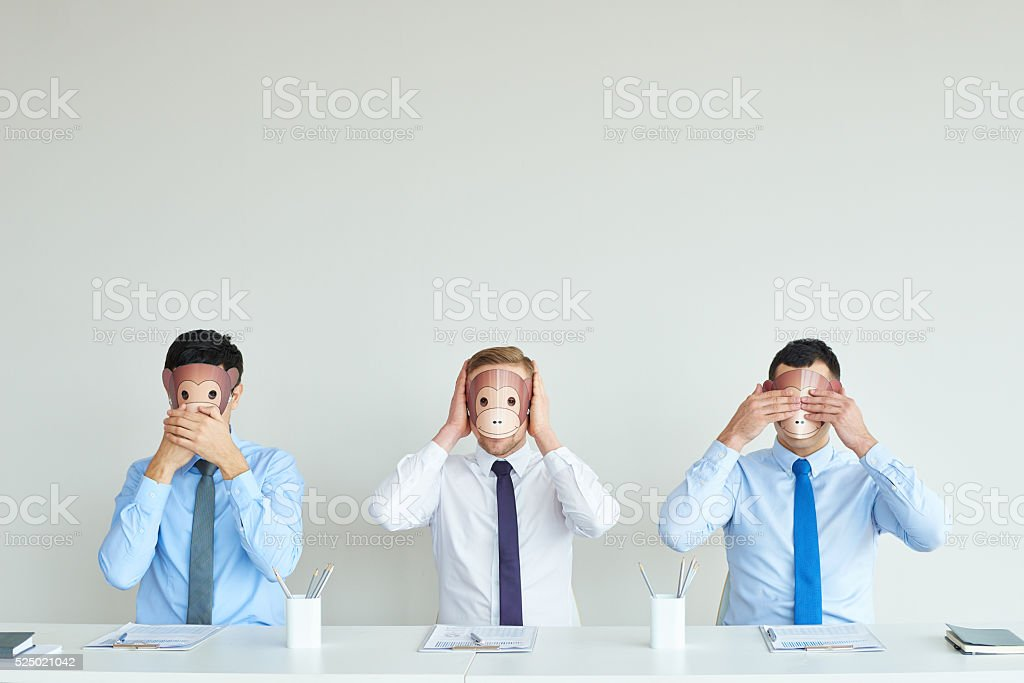 Three business mystic apes stock photo