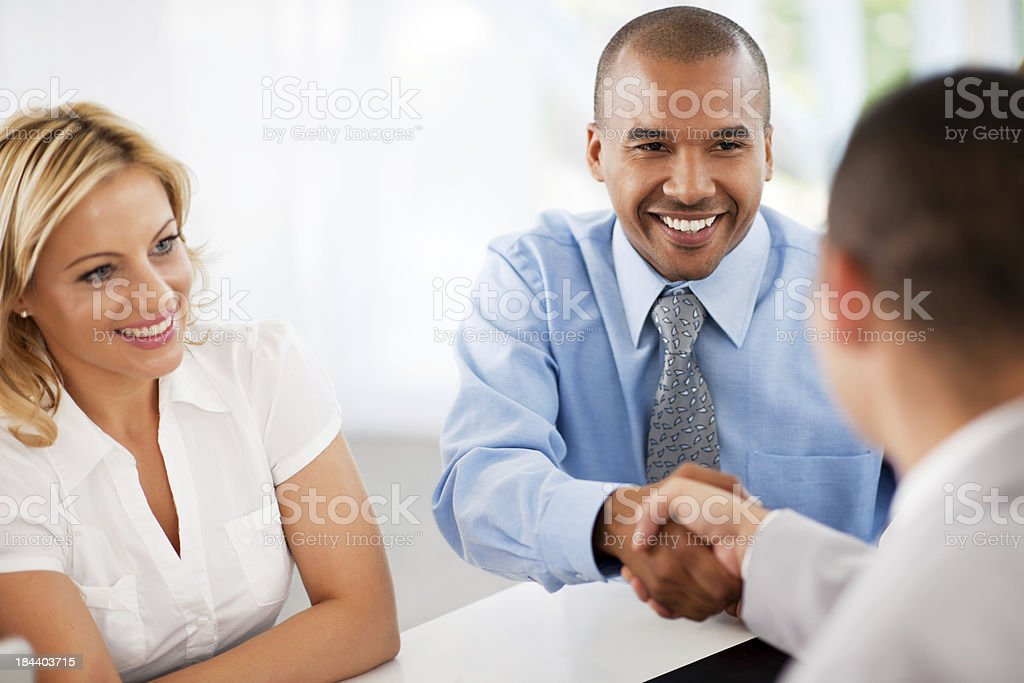 Three businesspeople having a meeting. royalty-free stock photo