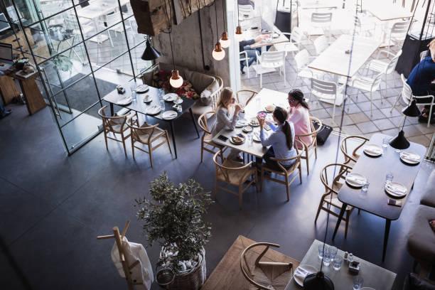 三位女商人在高檔餐廳舉行會議和商務午餐 - 吧 公共飲食地方 個照片及圖片檔