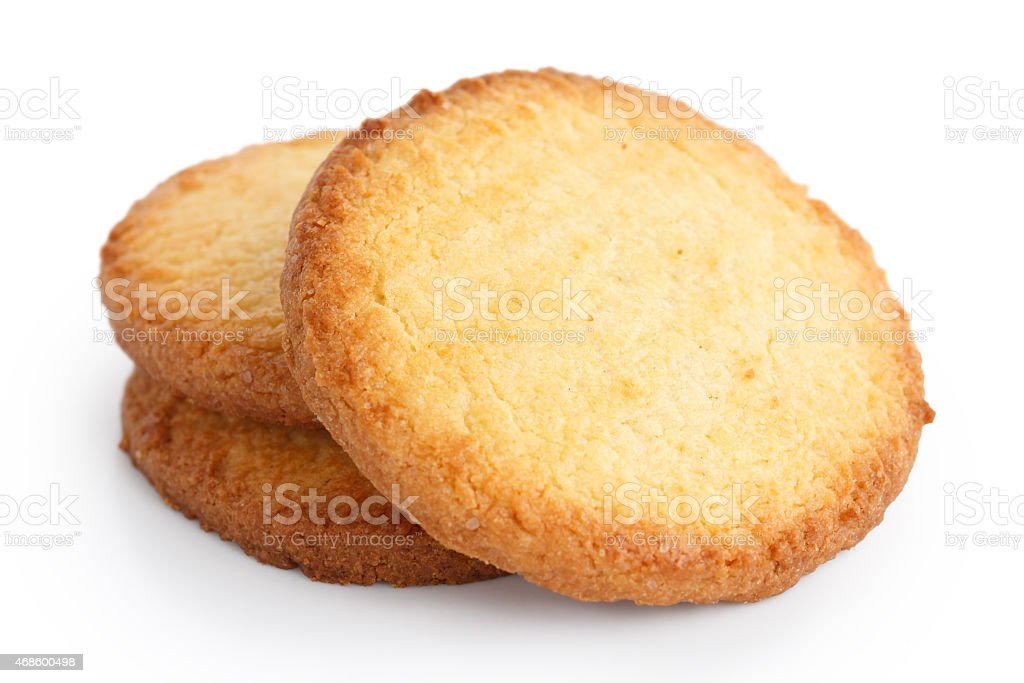 Three butter biscuits on white. stock photo