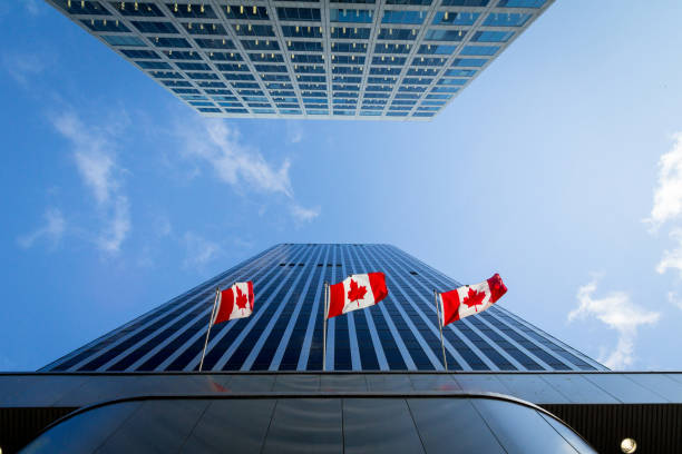 Three Canadian flags in front of a business building in Ottawa, Ontario, Canada. Ottawa is the capital city of Canada, and one of the main economic, political and business hubs of North America Picture of the canadian flag taken in front of a cold and blue business building in the CDB of Ottaawa. Ottawa is the capital city of Canada, and a major hub for economy, politics and business in America. canada flag photos stock pictures, royalty-free photos & images