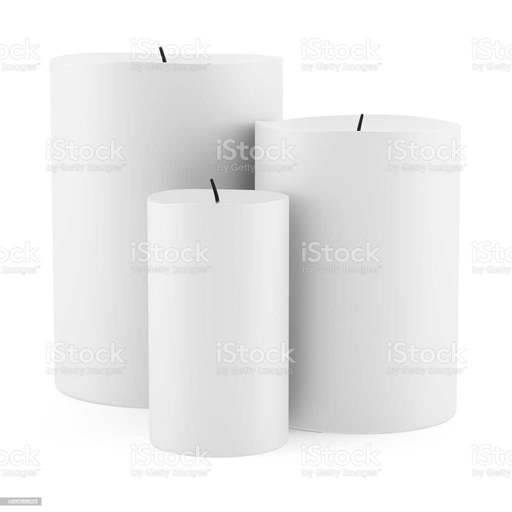 three candles isolated on white background stock photo