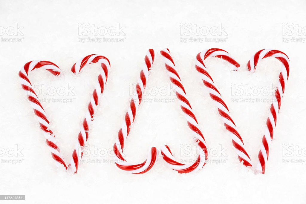 Three Candy Cane Hearts, Christmas, Decoration, Snow royalty-free stock photo
