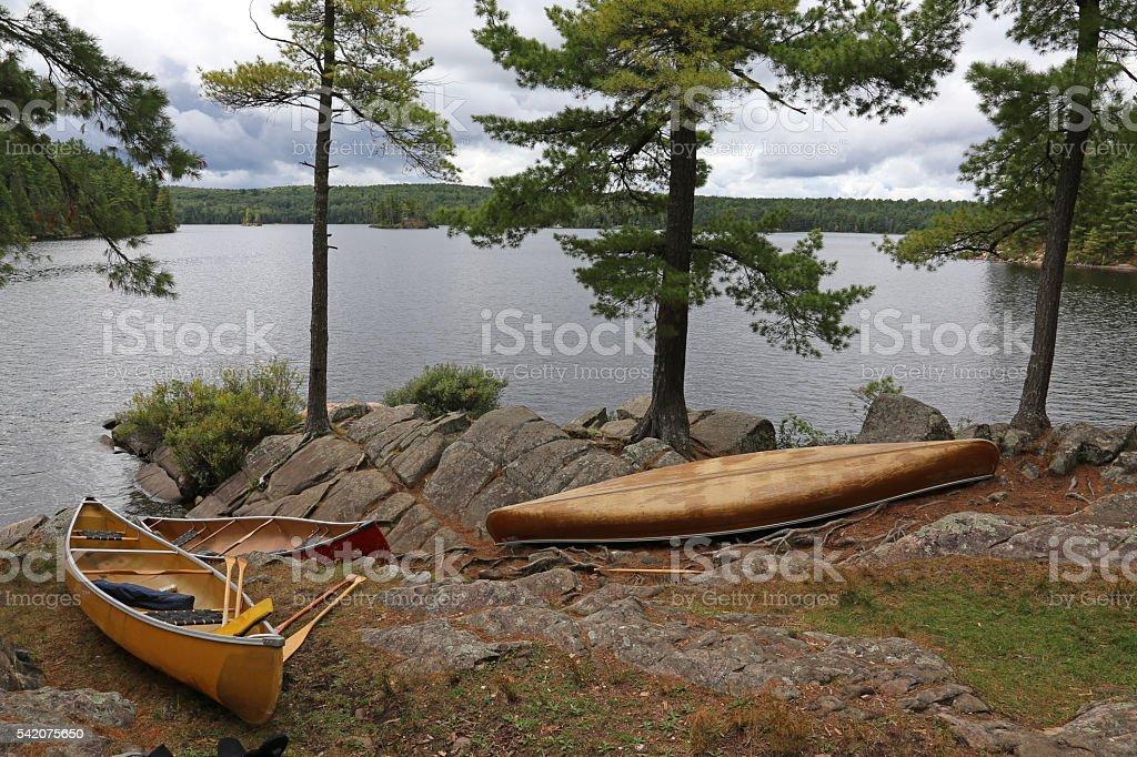 Three Canoes on Algonquin Lake stock photo