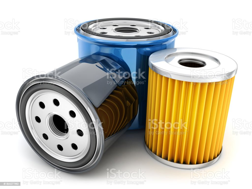 Three car oil filter stock photo
