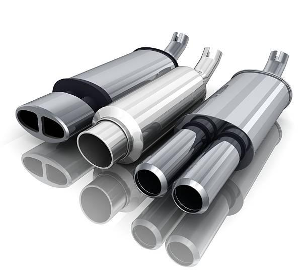 três carros-pipe - exhaust white background imagens e fotografias de stock