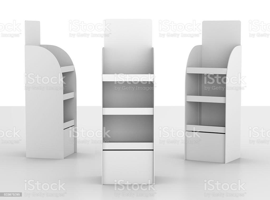 three cartonboard displays stock photo