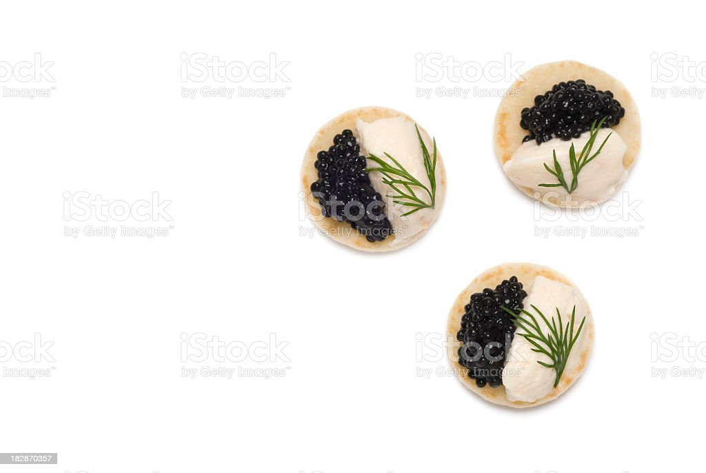 Three Caviar and dill Appetizers stock photo