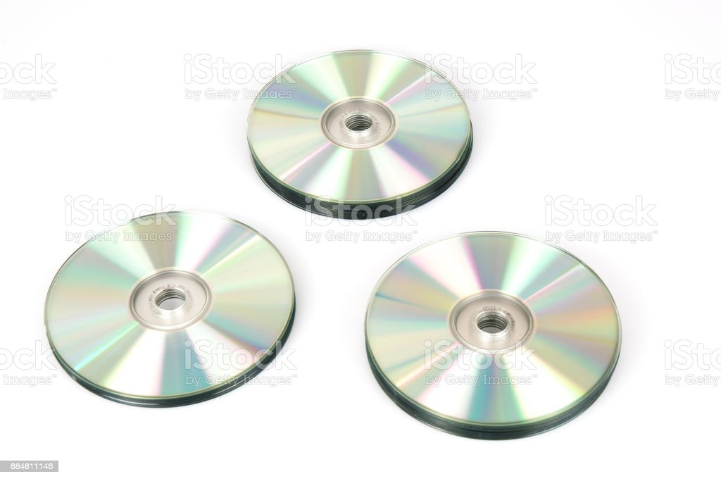 Three CD & DVD disk on white background stock photo