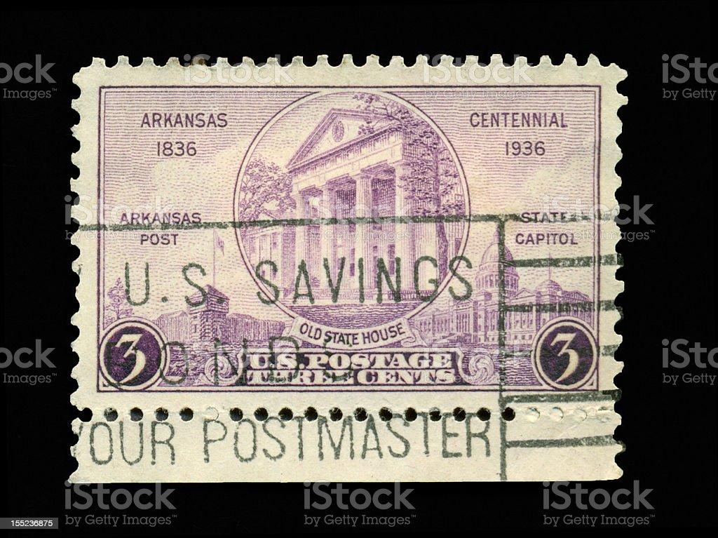 Three Cent Arkansas Centennial stock photo