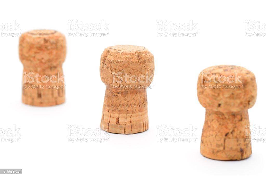 Trois bouchon de champagne dans une rangée - Photo