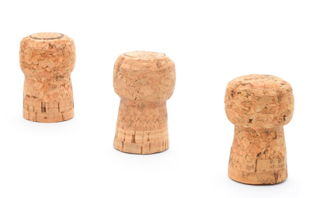 Three champagne cork in a row stock photo