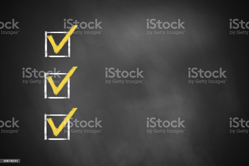 three checkboxes on chalkboard royalty-free stock photo