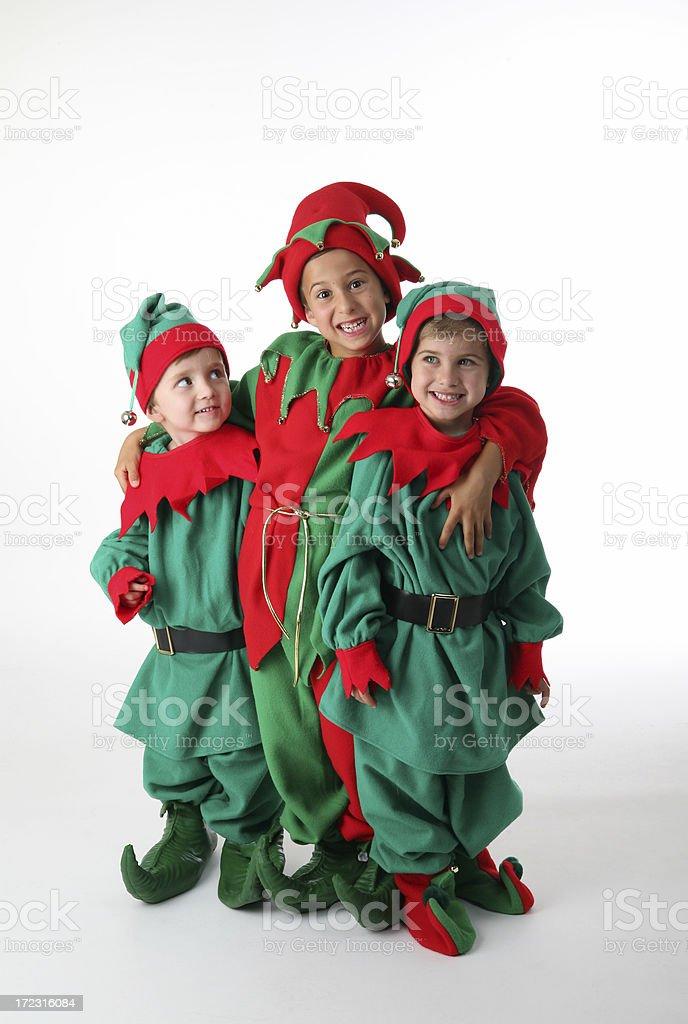 three  cheerful elves royalty-free stock photo