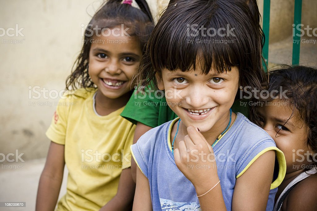Three Cheerful Rural Indian Girls royalty-free stock photo