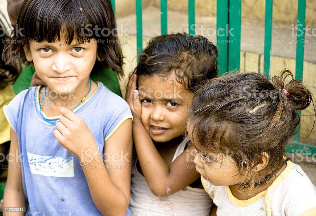 Three Cheerful Rural Indian Girls royalty-free stock photo