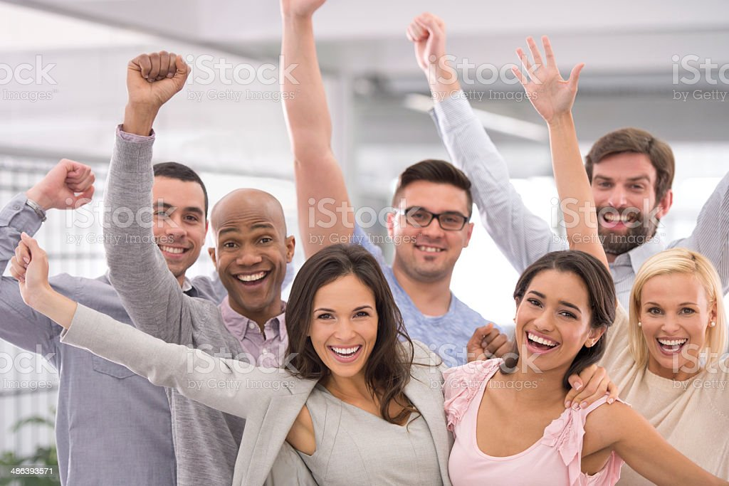 Three cheers for business success! stock photo