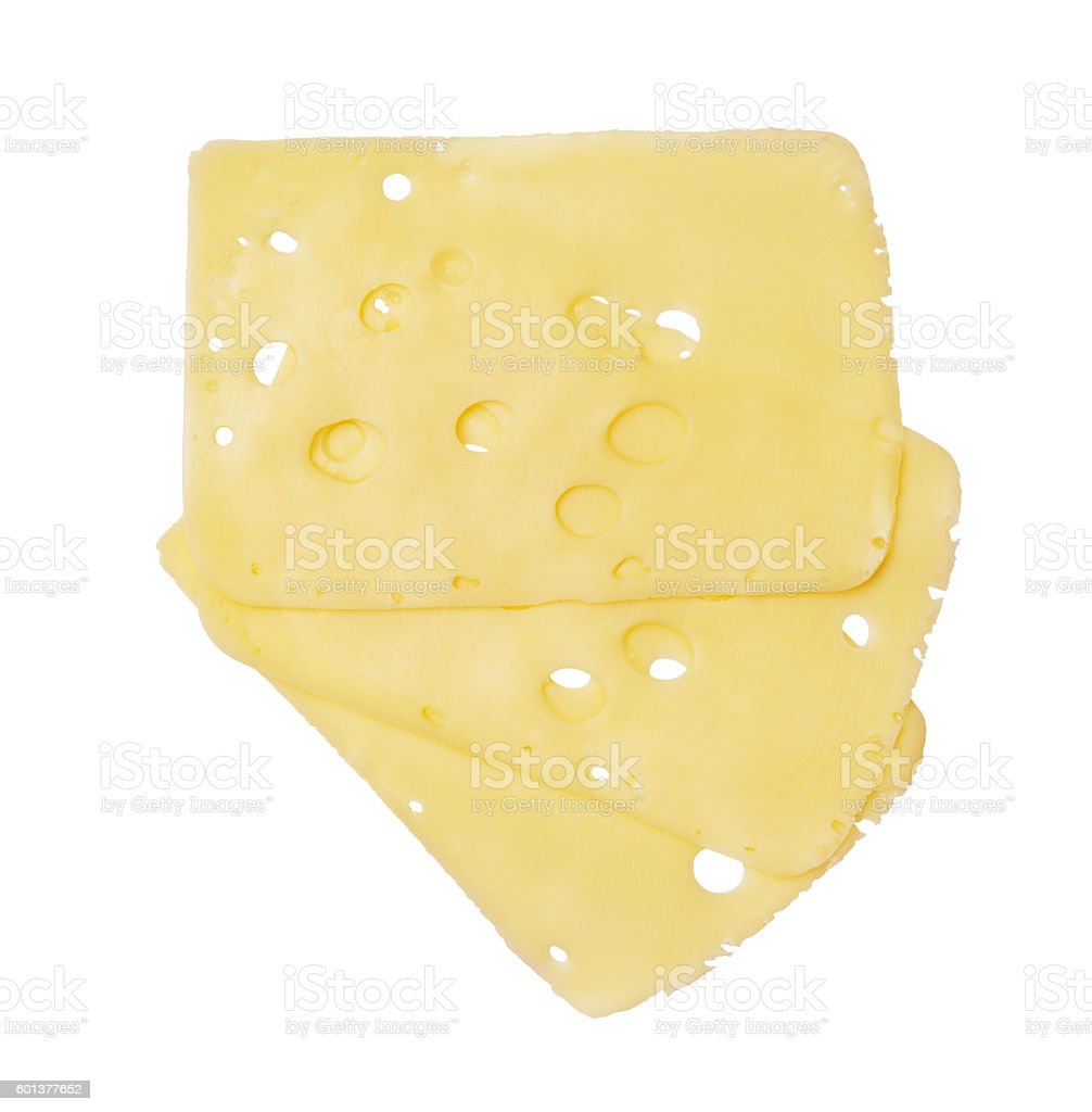 Three cheese slices stock photo