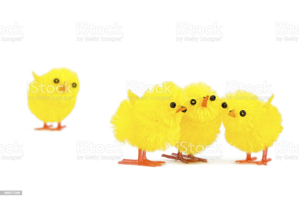 three chick friends ignoring sad outsider royalty-free stock photo