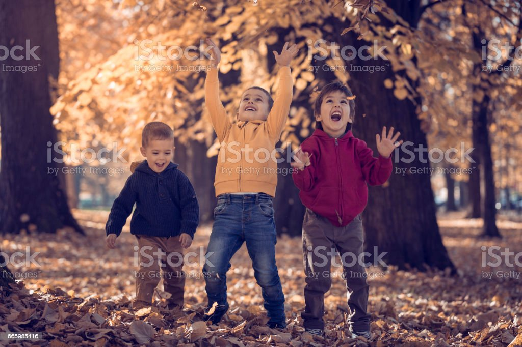 Three children playing with autumn leaves in park stock photo