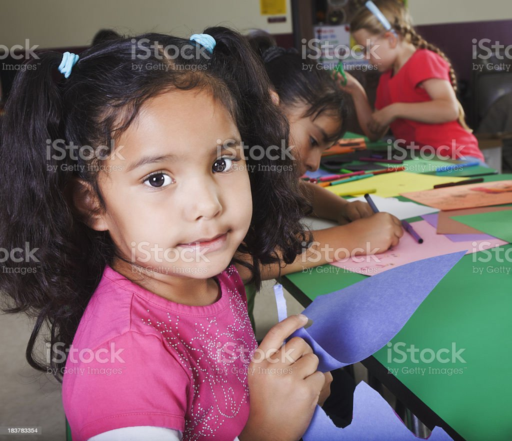 Three Children Working on Crafts at School royalty-free stock photo