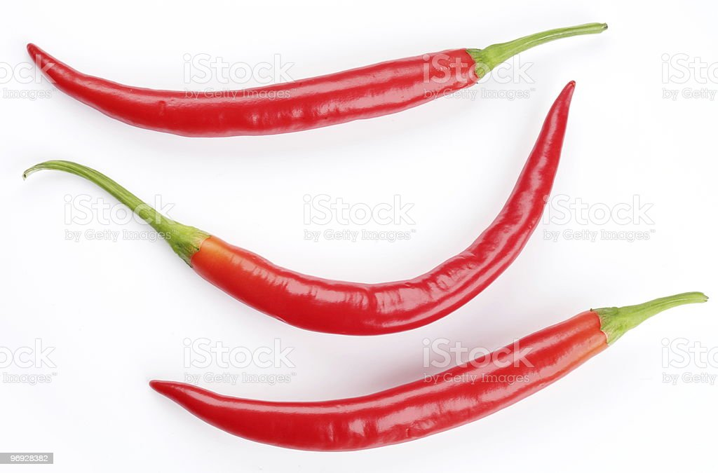 Three chilli peppers on white background royalty-free stock photo