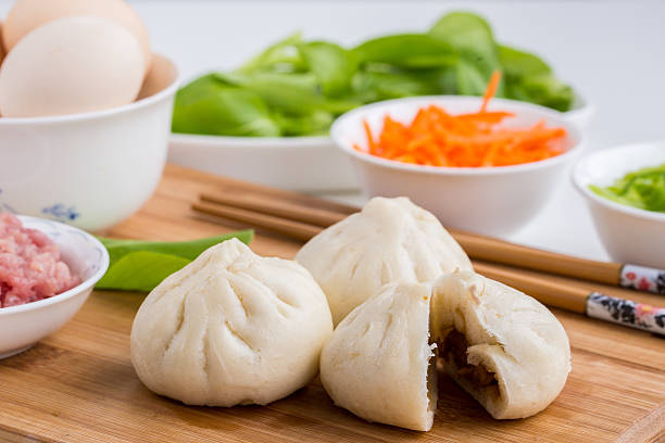 Three Chinese buns stock photo