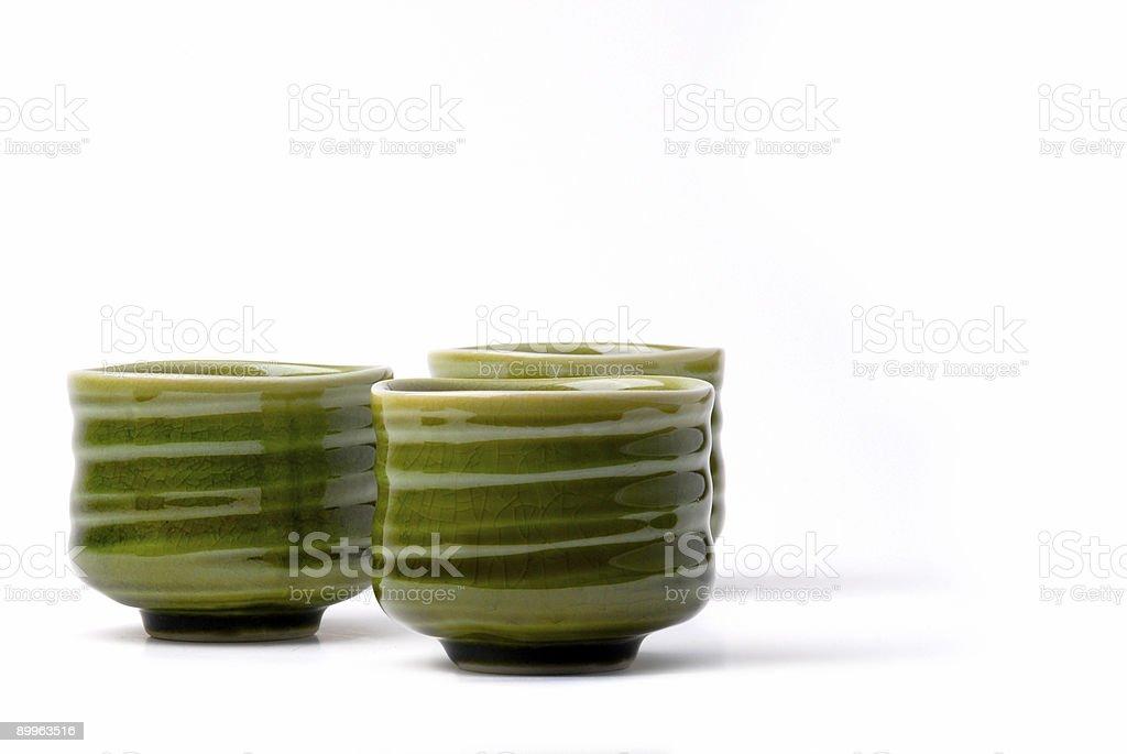 three chinese tea cups stock photo