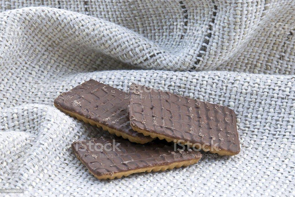 Three chocolate biscuits stock photo