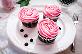Chocolate cupcakes with pink icing on plate