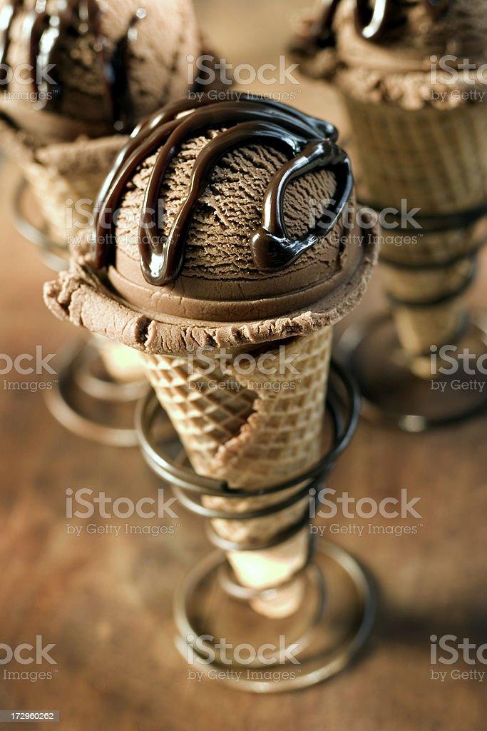 Three chocolate ice cream cones royalty-free stock photo