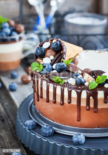 480972628 istock photo Three chocolate mousse cake decorated with waffle cone, fresh bl 629760066