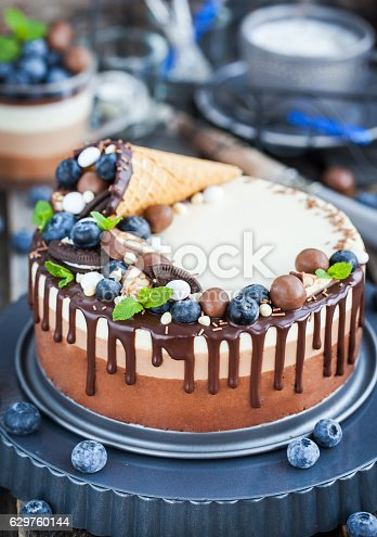 480972628 istock photo Three chocolate mousse cake decorated with waffle cone, fresh bl 629760144
