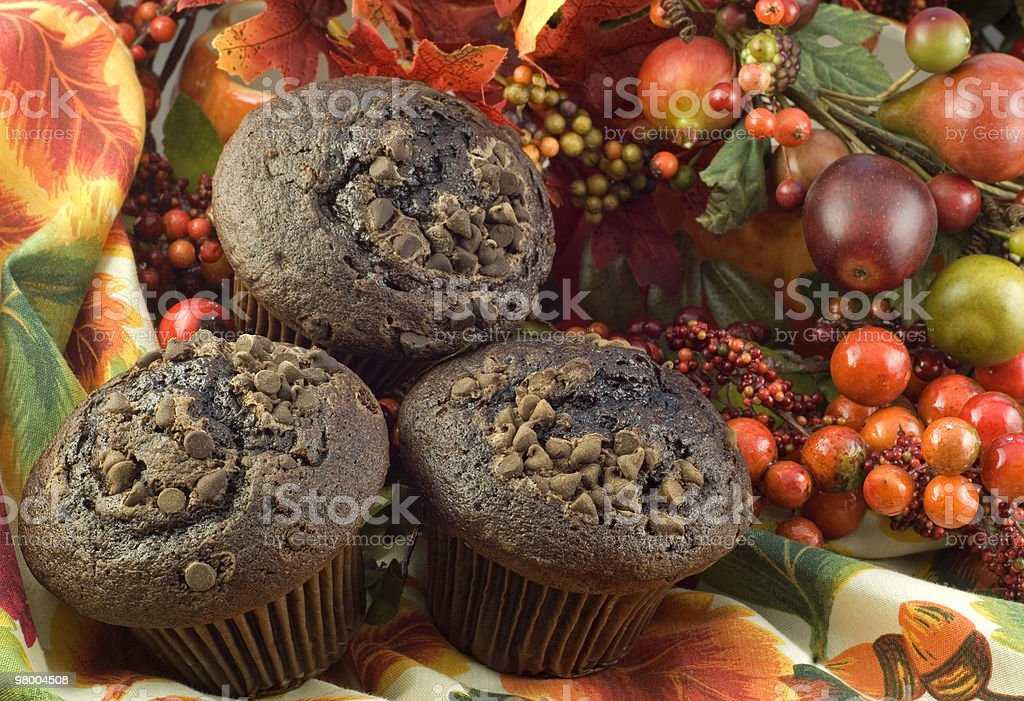 Three Chocolate Muffins on Fall Background royalty free stockfoto