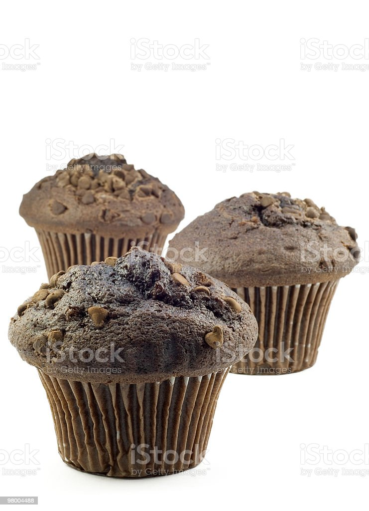 Three Chocolate Muffins royalty free stockfoto