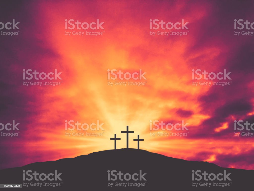 Three Christian Easter Crosses on Hill of Calvary with Colorful...