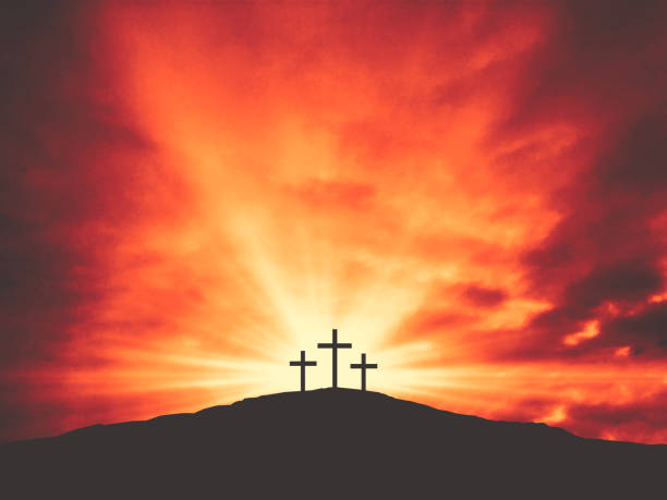 Three Christian Good Friday Crosses Silhouette on Hill of Calvary with Sun and Clouds in Sky Background Three Christian Good Friday Crosses Silhouette on Hill of Calvary with Sun and Clouds in Sky Background - Crucifixion of Jesus Christ religious cross stock pictures, royalty-free photos & images