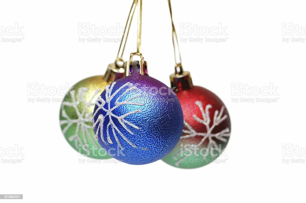 Three Christmas balls hanging - isolated on white royalty-free stock photo