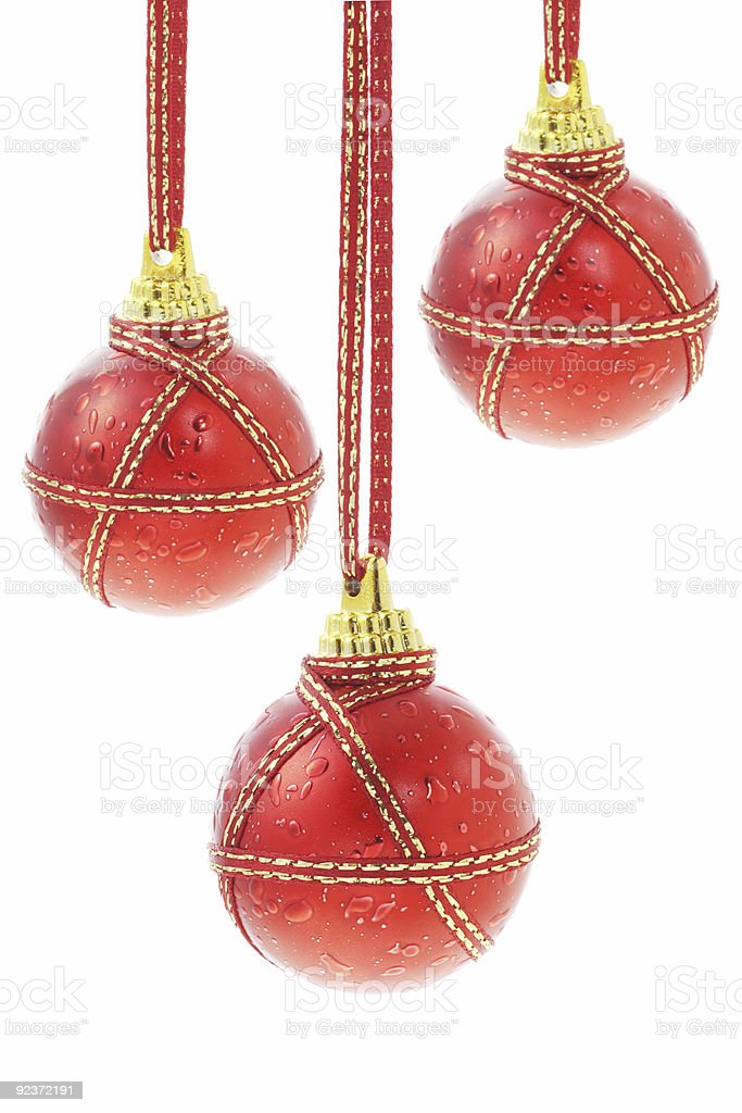 Three Christmas baubles royalty-free stock photo