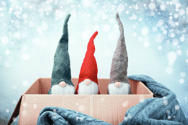 Three Christmas gnomes of different colors in open box, knitted blanket stock photo