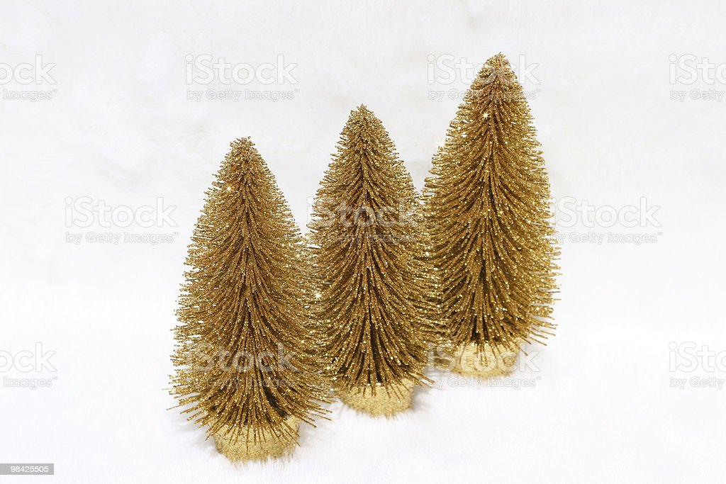 Three christmas trees on snow royalty-free stock photo
