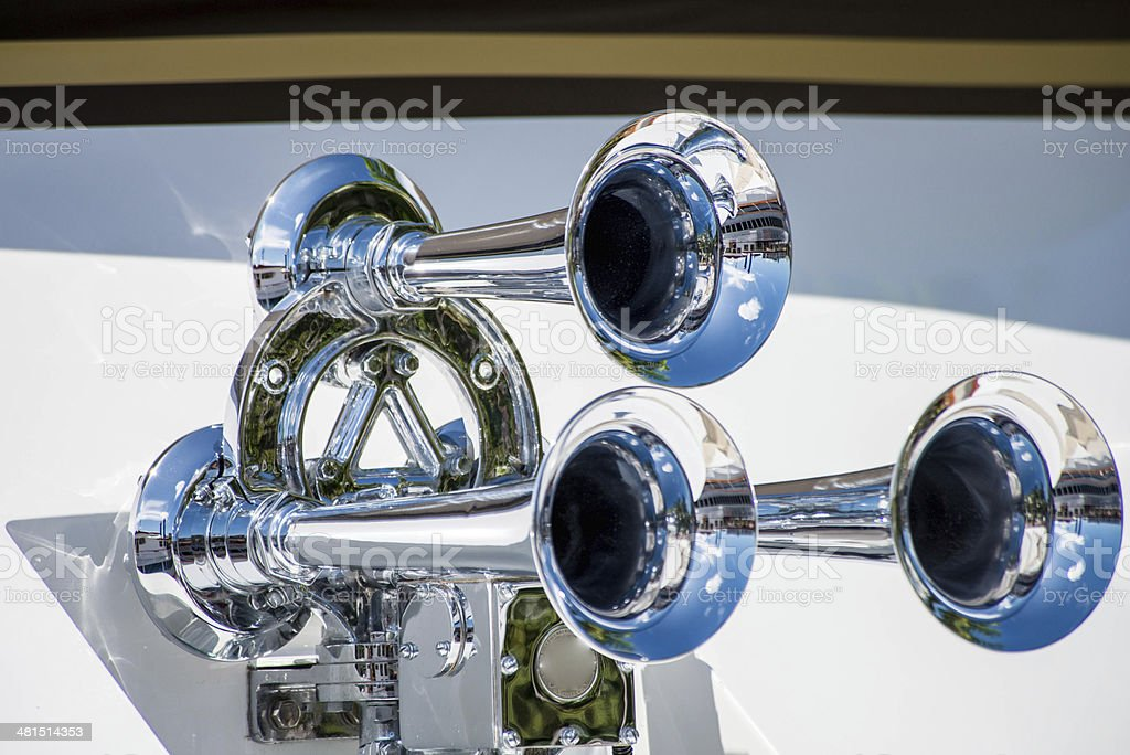 Three Chrome Horns stock photo
